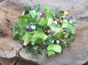 Cornish blue cheese flowered salad with honeyed walnuts, £5.95