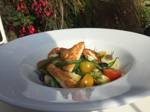 2016-08-17, DOTW Warm green beans, halloumi & potato salad with olives