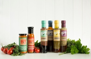 Raspberry & Mint Dressing; Lemon & Tarragon Dressing; Red Onion & Parsley Dressing; Balsamic & Thyme Dressing;  Tomato & Rosemary Ketchup; Spicy Tomato & Sage Pasta Sauce