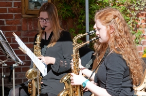 Abraham Darby saxophonists at Apley, Sept 2015