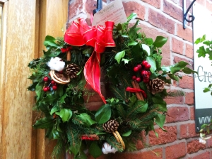 Christmas wreath hanging outside Creamery Cafe